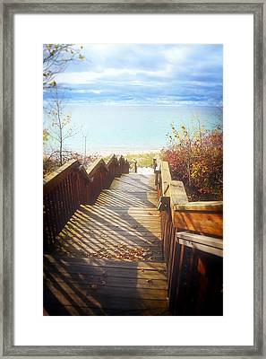 Framed Print featuring the photograph Lake Michigan In The North by Michelle Calkins