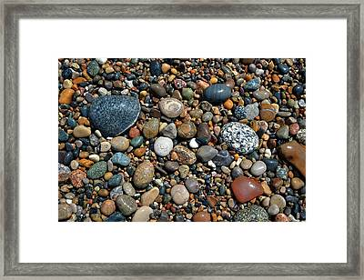 Framed Print featuring the photograph Lake Michigan Stone Collection by Michelle Calkins
