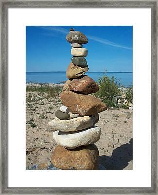 Lake Michigan Stone Pyramid Framed Print by Johnny Yen
