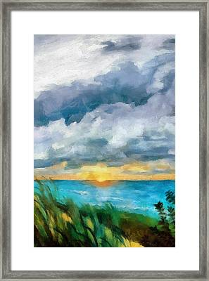 Lake Michigan Sunset Framed Print by Michelle Calkins