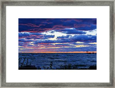 Lake Michigan Windy Sunrise Framed Print