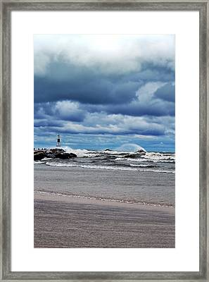 Lake Michigan With Big Wind  Framed Print by Michelle Calkins