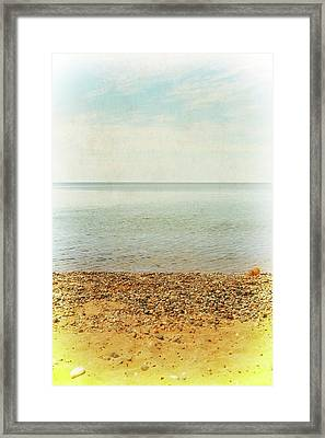 Framed Print featuring the photograph Lake Michigan With Stony Shore by Michelle Calkins