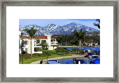 Lake Mission Viejo Snow On Saddleback Mountain Framed Print