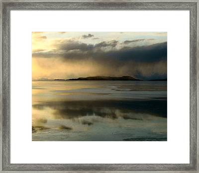 Lake Mist Over Pic Island Framed Print by Laura Wergin Comeau