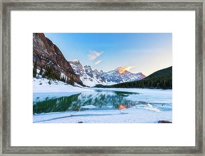 Lake Moraine Sunset Framed Print