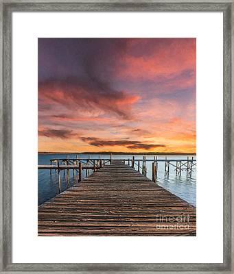 Lake Murray Lodge At Sunrise Framed Print by Tamyra Ayles