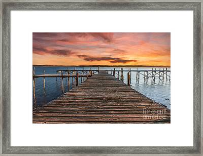 Lake Murray Lodge Pier At Sunrise Landscape Framed Print by Tamyra Ayles