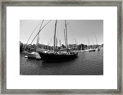 Lake Murray S C Marina 2 Black And White Framed Print by Lisa Wooten