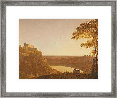 Lake Nemi At Sunset Framed Print by Joseph Wright of Derby
