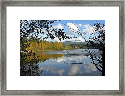 Lake Padden Fall Reflection Framed Print by Matthew Adair
