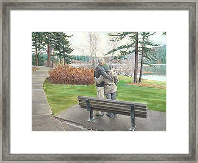 Lake Padden-memorial Bench Of Reg Bratz Framed Print