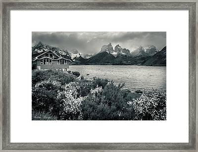 Lake Pehoe In Black And White Framed Print by Andrew Matwijec