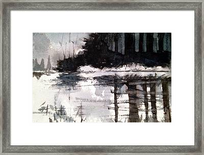 Lake Placid Black And White Study Framed Print by Charlie Spear