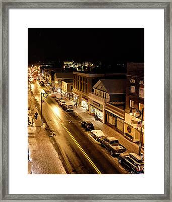 Framed Print featuring the photograph Lake Placid New York - Main Street by Brendan Reals