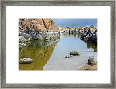 Lake Reflections At Granite Dells Framed Print by Daniel Dean