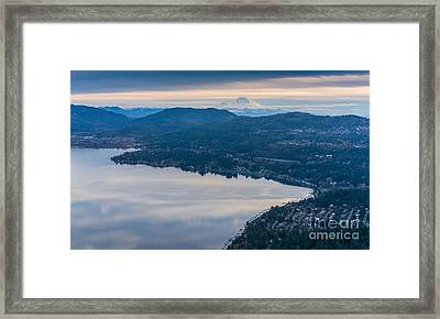 Lake Sammamish Towards Issaquah And Rainier Framed Print by Mike Reid