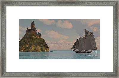 Lake Schooner And Castle Framed Print by Corey Ford