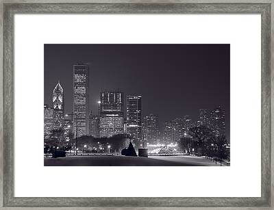 Lake Shore Drive Chicago B And W Framed Print by Steve Gadomski