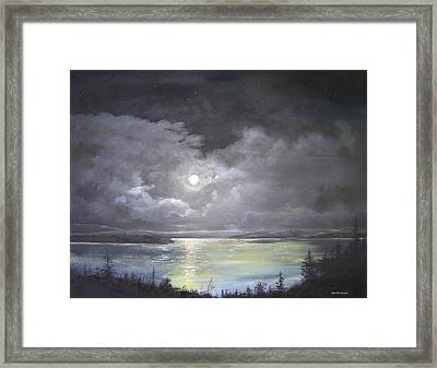 Lake Shore Moonscape  Framed Print by Ken Ahlering