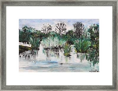 Framed Print featuring the painting Lake by Sladjana Lazarevic