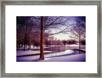 Lake Snow - Winter Landscape Framed Print by Barry Jones
