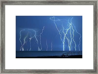 Lake St. Clair Lightning Framed Print by Cale Best