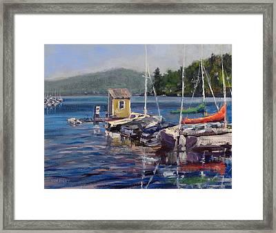 Lake Sunapee Boat Dock Framed Print by Ken Fiery