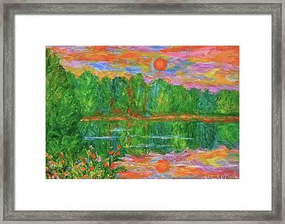 Lake Sunset Framed Print by Kendall Kessler