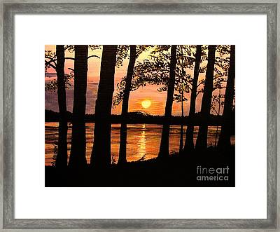 Framed Print featuring the painting Lake Sunset by Patricia L Davidson