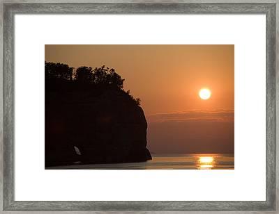 Lake Superior Sunset Framed Print by Sebastian Musial