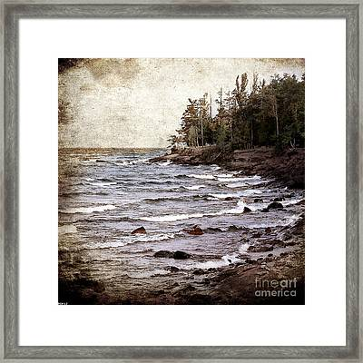 Framed Print featuring the photograph Lake Superior Waves by Phil Perkins