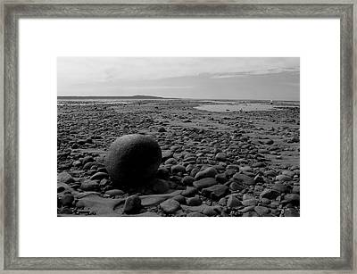 Lake Superrior Rock Black And White Framed Print