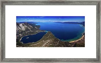 Lake Tahoe Aerial Panorama - Emerald Bay Aerial Framed Print by Brad Scott