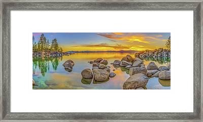 Lake Tahoe Spring Sunset Panoramic Framed Print by Scott McGuire