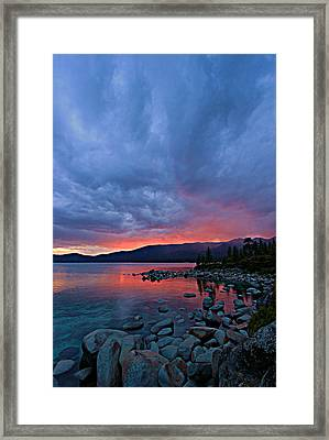 Lake Tahoe Sunset Portrait 2 Framed Print by Sean Sarsfield