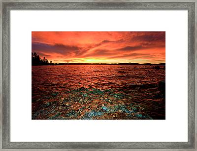 Lake Tahoe...blood Moon Sunset Framed Print