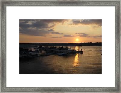 Lake Travis Sunset Over Carlos N Charlies Framed Print by David Thompson