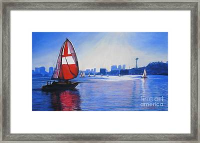 Lake Union And The Red Sail Framed Print