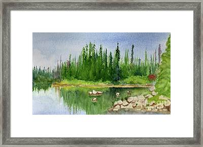 Framed Print featuring the painting Lake View 1-2 by Yoshiko Mishina