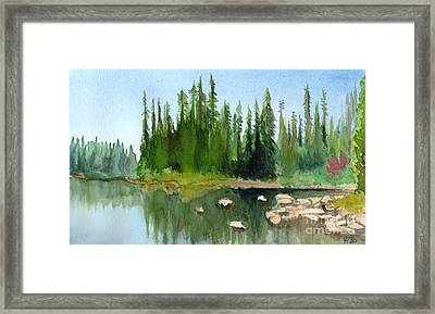 Framed Print featuring the painting Lake View 1 by Yoshiko Mishina