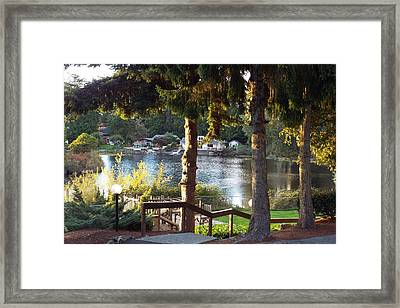 Beverly Lake View In Fall Framed Print by Judyann Matthews