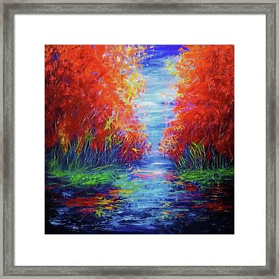 Olena Art Lake View Abstract Artwork Framed Print