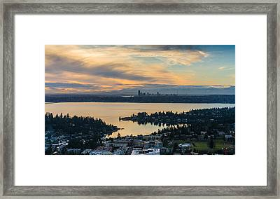 Lake Washington And The Seattle Skyline Aerial Framed Print by Mike Reid