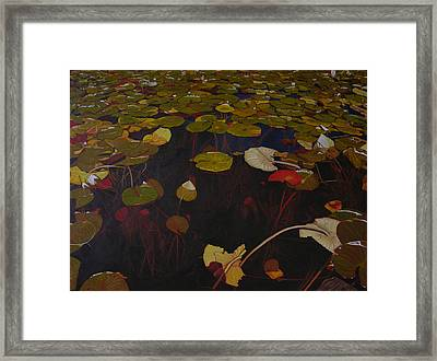 Framed Print featuring the painting Lake Washington Lilypad 7 by Thu Nguyen
