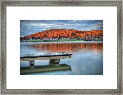 Autumn Red At Lake White Framed Print by Jaki Miller