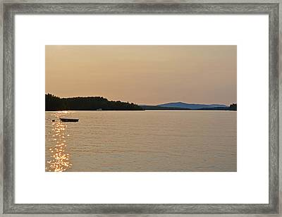 Lake Winnipesaukee Row Boat Sunset Framed Print by Toby McGuire