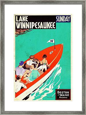 Lake Winnipesaukee - Vintagelized Framed Print