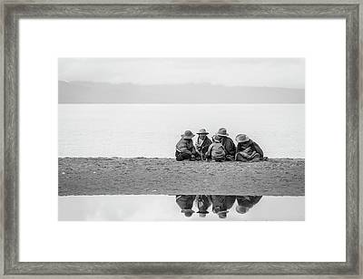 Lakeshore Discussion, Namtso, 2007 Framed Print by Hitendra SINKAR