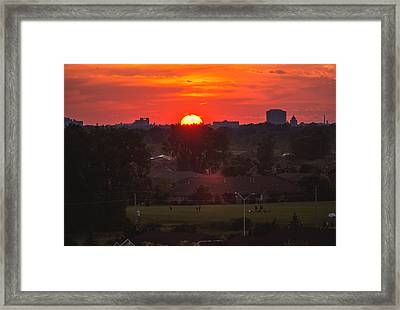 Lakeshore Woods Sunset Framed Print by Cale Best